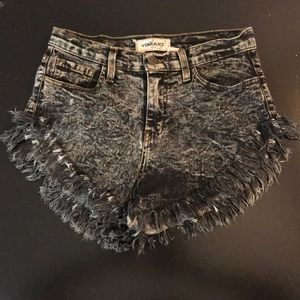 High wasted frayed jean shorts